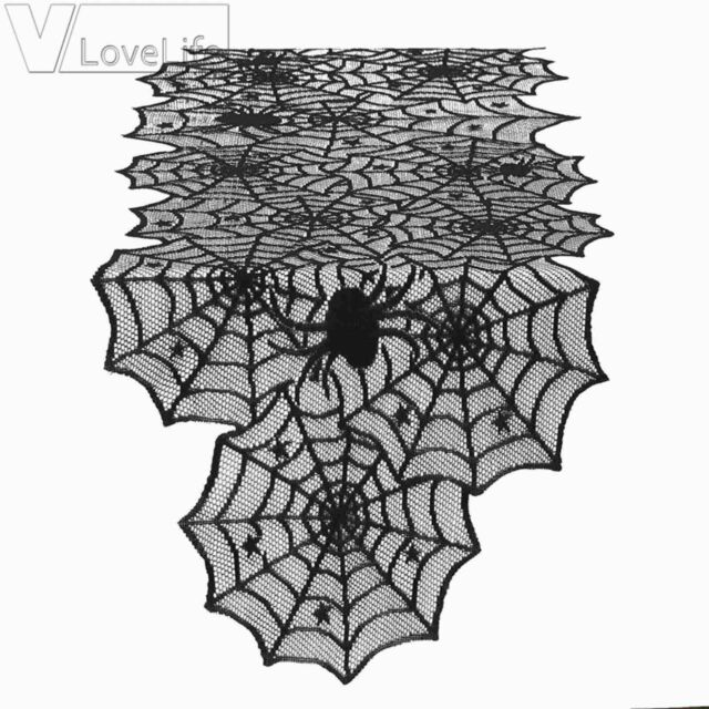 Black Halloween Party Lace Spider Web Table Runner Tablecloth Cover Dinner Decor