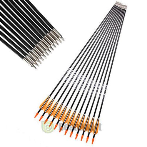 "32/"" Archery Fiberglass Carbon Arrows Target Points Recurve Bow Shooting Hunting"