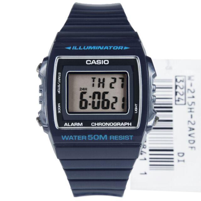 W-215H-2A BLUE 50m Casio Watch Unisex Digital Alarm Chronograph Resin Band New