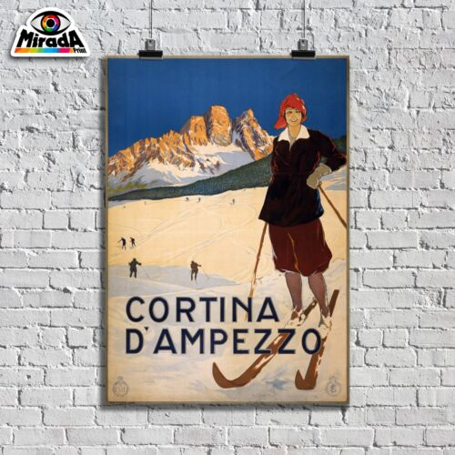 POSTER VINTAGE CORTINA D/'AMPEZZO SPORT SCI MONTI NEVE TOP QUALITY GRAPHICS