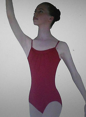 NWT Bloch L2570 Pintuck Bodice Leotard Red Ladies Sizes Sheer Inset front /& back