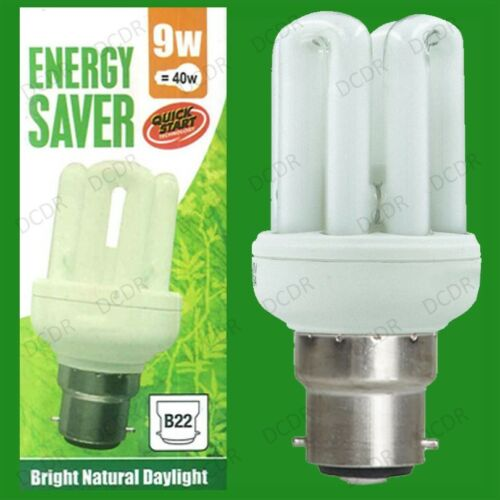 10x 9W 40W Daylight Quick Start Low Energy CFL SAD 5600K White Light Bulb BC B22