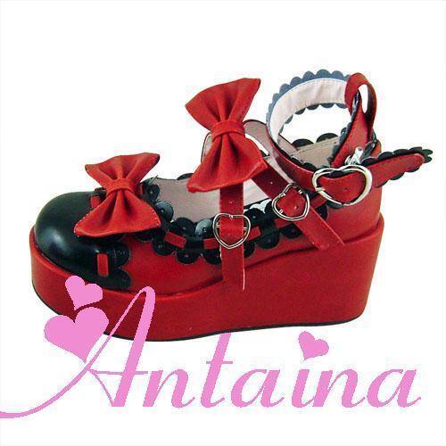Rot lolita Schuhes damen-Schuhe wedges Halbschuhe cosplay gothic keilabsatz wedges damen-Schuhe goth 0f5972