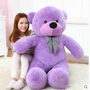 PP COTTON TOY new 120CM 47'' BIG CUTE Purple PLUSH TEDDY BEAR HUGE SOFT 100%