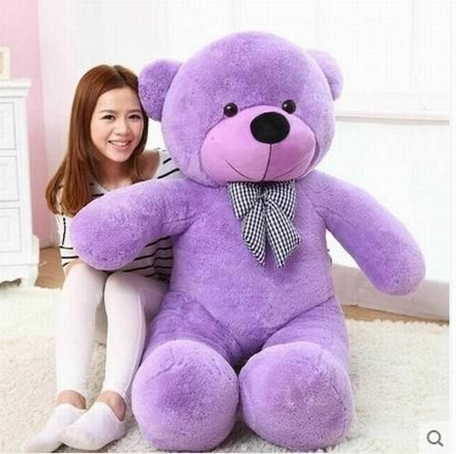 120cm 47'' Big Cute Purple Plush Teddy Bear Huge Soft 100% Pp Cotton Toy gifts