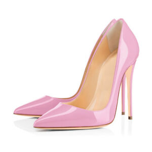Womens-Pointed-Toe-High-Heel-Slip-On-Stiletto-Pumps-Wedding-Party-Shoes-Pink