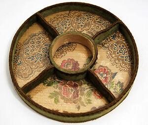 PLATEAU-SERVITEUR-soie-brodee-PASSEMENTERIE-ANCIENNE-1900-velours