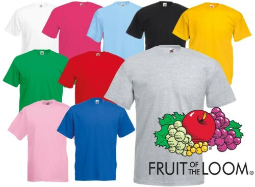 Blank Mens Womens T-Shirt Tee Shirt Top Fruit of the Loom 100/% Cotton Plain