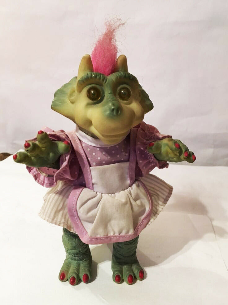 (T) Adorable Dino troll lady dinosaur 18 cm 7  Rosa hair