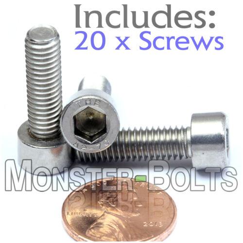DIN 912 SOCKET HEAD Cap Screws 18-8 Stainless Steel A2 M6 x 20mm Qty 20