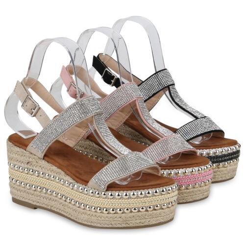 Damen Plateau Sandaletten Keilabsatz Sommer Strass Wedges 823121 Schuhe