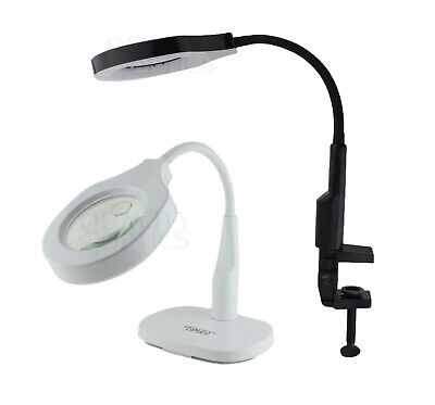 Quality Optics LED Convertible Desk Top Clip-on Magnifier Rechargeable Magnify