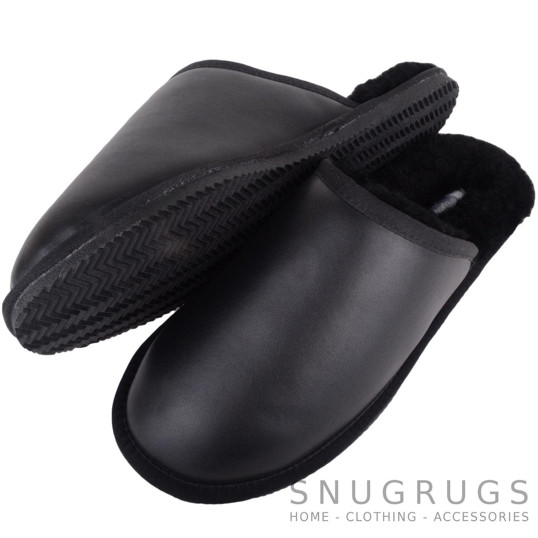 Snugrugs para Hombre Caballeros Piel De Oveja Cuero Genuino De Lujo Zapatillas Mula