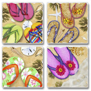 Mixed-Absorbent-Stone-Coasters-Set-of-4-Flip-Flops-Tropical-Beach-Sand-Sea-Shell