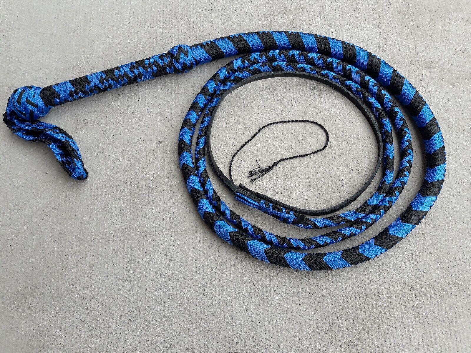 8ft de largo 12 Negro y Azul Plateado Pesado deber Personalizado Paracord Nylon látigo Toro