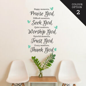 Details about Praise Seek Worship Trust Thanks God Butterfly Wall Sticker  Home Quotes Inspi