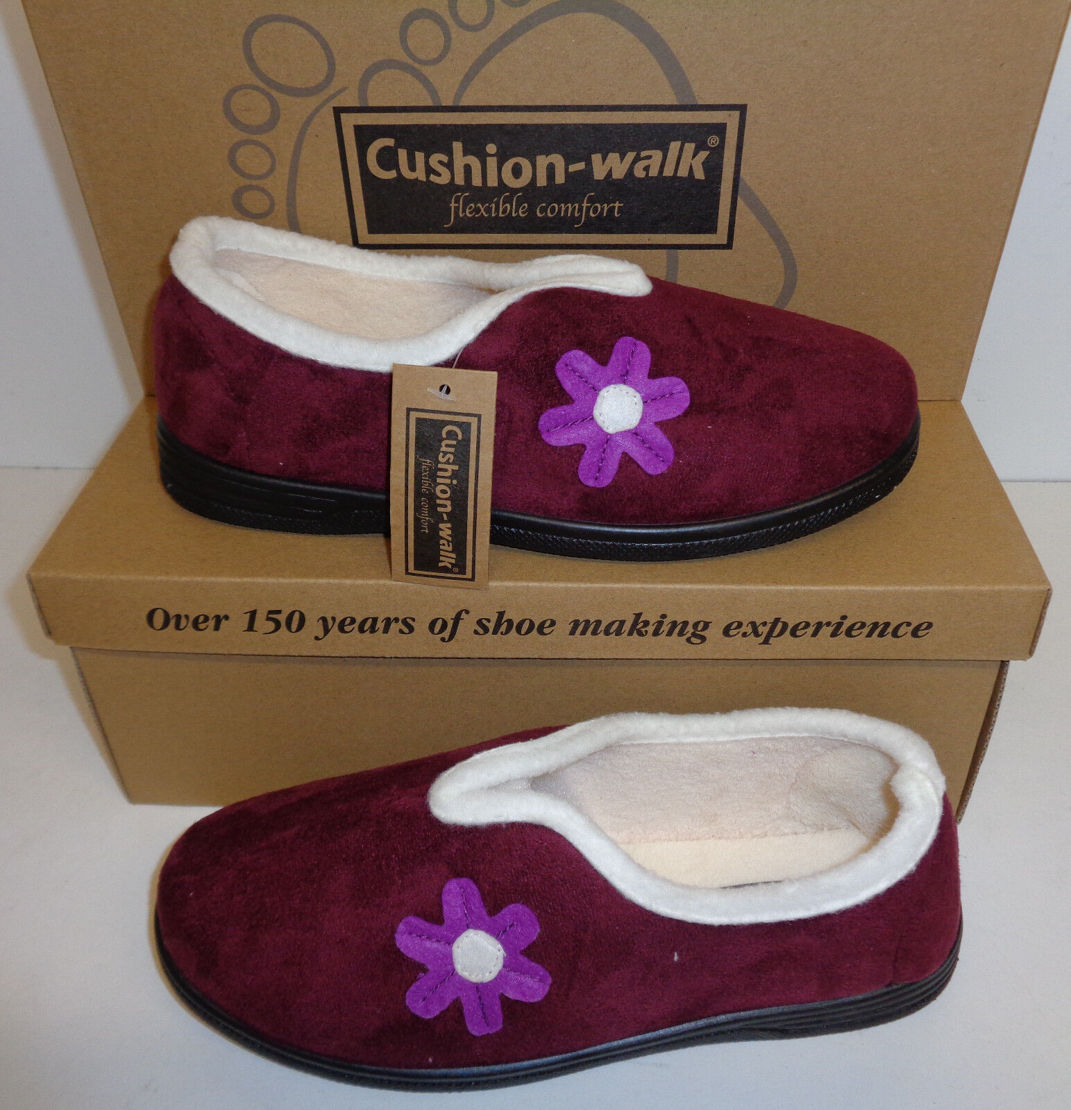 Ladies Slippers Plum Cushioned Indoor Shoes Soft Warm V Front Shoes Indoor Sizes 4 5 6 7 8 993ba6