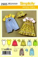 Simplicity Sewing Pattern 2905 Baby Clothes Rompers Bodysuit Jumper Xxs-l