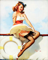 Sailor  Pin Up Girl  - Vintage Art Print Poster - A1 A2 A3 A4 A5