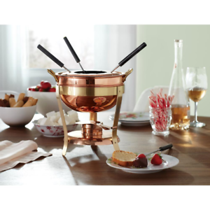 2-75-qt-Fondue-Set-Copper-Pot-Chocolate-Cheese-Dip-Brass-Stand-Fuel-Chafing-Dish