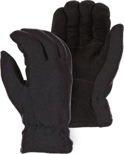 THERMAL Heat Lock Insulated-DeerSkin Suede Leather Heatlok Gloves-Black-GRAY-XL