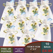New Yellow Hand Embroidered Cotton Drawstring Bag Lavender Pot Pourri B90
