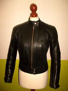 vintage-ENGLAND-70-s-Motorradjacke-Lederjacke-Bikerjacke-motorcycle-jacket-S