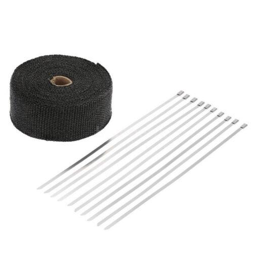 5CM X 15M Fiberglass Roll Black Racing Exhaust Heat Pipe Wrap Tape 10 Ties Kit