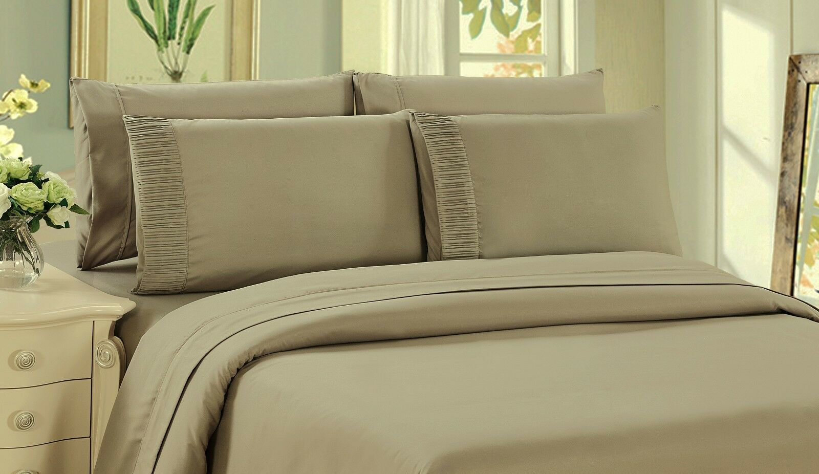 Bamboo Eco-Friendly Soft 3 Piece Duvet Cover Set, Queen Size, Taupe color