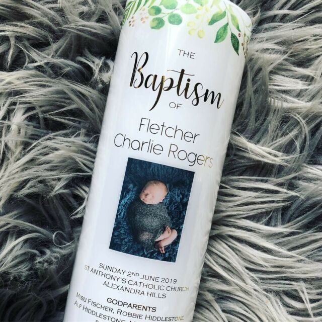 Personalised Christening/Baptism/Naming Day Candle. Photo Candle