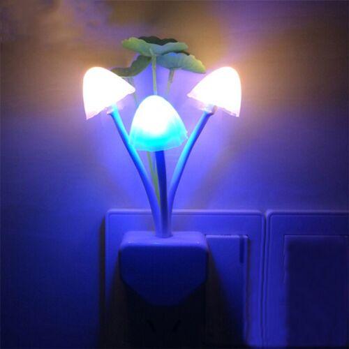 Cute Flower Mushroom LED Night Light Sensor Baby Bed Room Lamp Decor