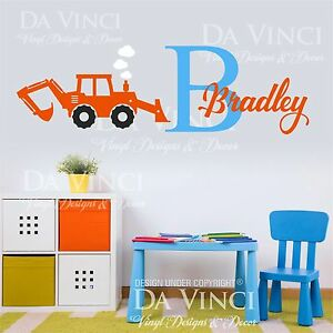 Image Is Loading Custom Name Monogram Wall Decal Sticker Vinyl Construction