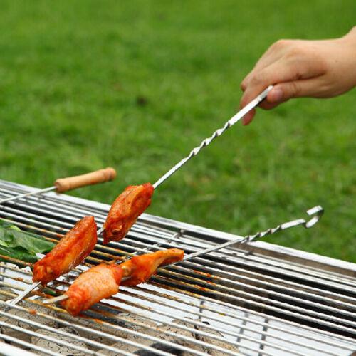 10 X BBQ Barbecue Stainless Steel Grilling Kabob Kebab Flat Skewers Needle ha
