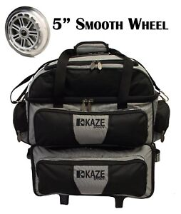 KAZE-SPORTS-4-Ball-Double-Decker-Bowling-Bag-Roller-Tote-with-Smooth-PU-Wheels