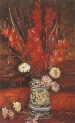 Vase With Red Gladioli Paris Van Gogh VG259 Repro Art Print A4 A3 A2 A1