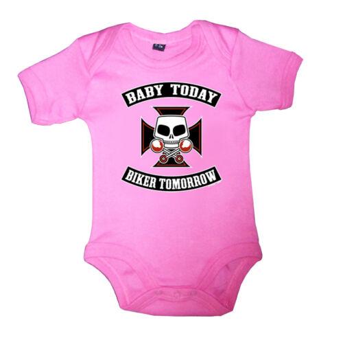Rockabilly Baby Body Strampler BABY TODAY BIKER TOMORROW Pink