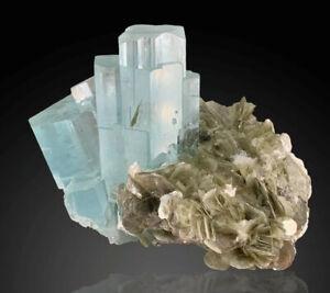 Aesthetic AQUAMARINE Crystals On Muscovite Matrix From Nagar Valley,Pakistan