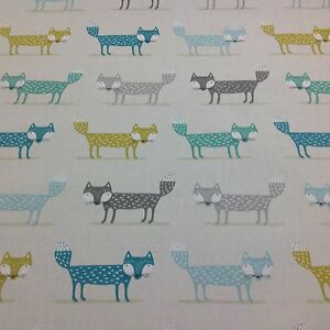 Fryetts-034-FOXY-FOX-TEAL-034-100-Cotton-Fabric-for-Curtain-Upholstery-Crafts