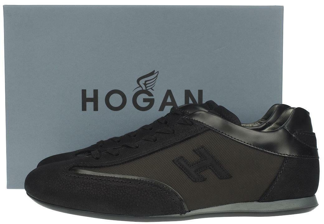 NEW HOGAN MEN BLACK ANTRACITE LEATHER OLYMPIA SLASH H SNEAKERS SHOES 6.5/US 7.5