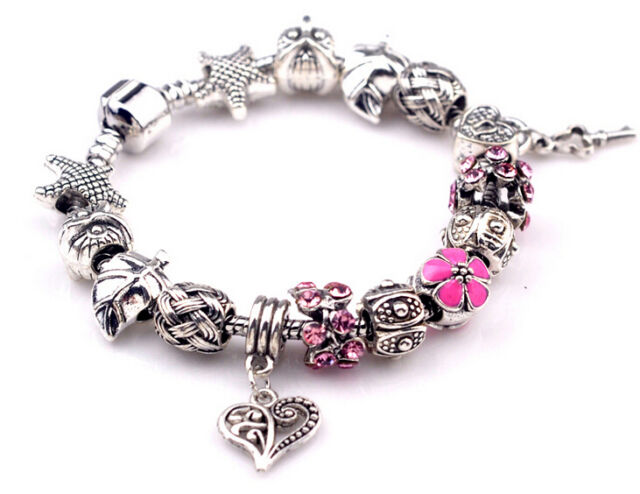 new 925 Sterling Silver Fashion DIY European Beads LADY women bracelet pretty