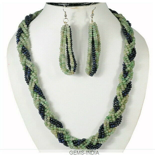 610.80 Cts Natural Emerald Sapphire Gems Multi-strands Round Beaded Jewelry Set