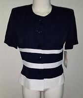 Lois Snyder Dani Max Top Jacket Sz 4 Petite Navy Blue Ivory Stripe Nautical