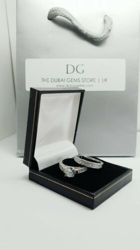 Details about  /White gold finish round cut created diamond twin set ring size V gift bag /& box