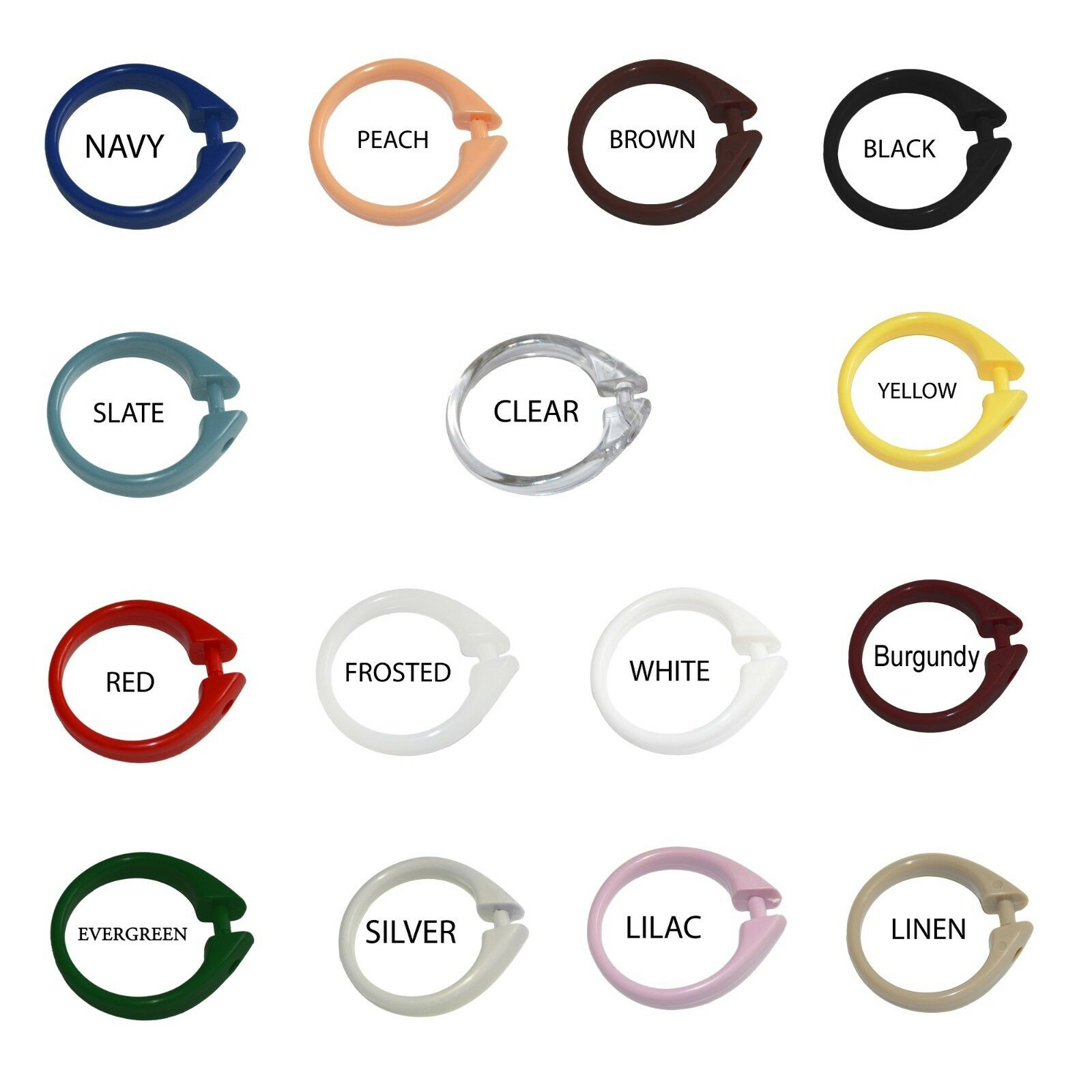 Hooks Set of 12 Easy-to-Use Plastic Snap On Shower Curtain Rings