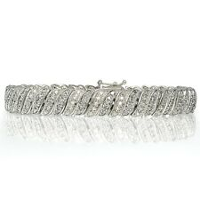 1ct TDW Diamond Wave Link Tennis Bracelet in Brass