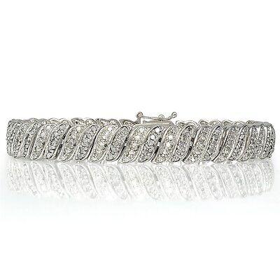 1ct TDW Diamond Wave Link Tennis Bracelet in Brass