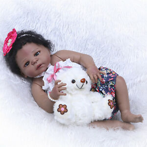 23 Black Reborn Baby Dolls Silicone Full Body Girl With Pacifier And Clothes Ebay