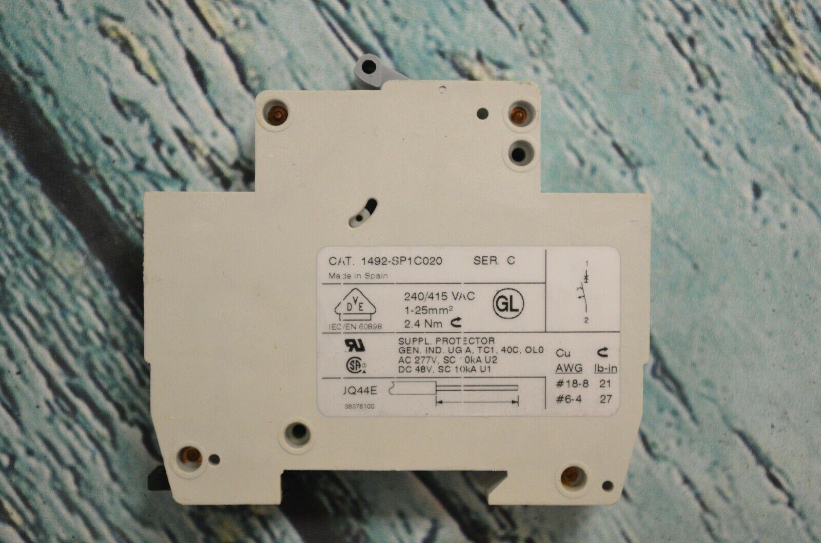 AB 1492-SP Circuit Breaker Supply Protect CAT 1492-SP1C020 240//415 Rail Mount
