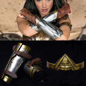 Wonder Woman Arm Bracers Gauntlet Cuffs+Headband Crown Halloween Cosplay Outfit