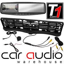 "Rear Car Number Plate Reversing Camera 2 Parking Sensor & 4.3"" Screen Mirror Kit"